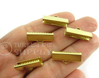 20 Raw Brass 20x6mm Ribbon Crimp Ends with Loop, Fasteners Clasp Findings, Ribbon Ends Clamps, Raw Brass Findings EK230