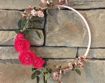 Modern hoop wreath, nursery decor, wedding decor, door hanging