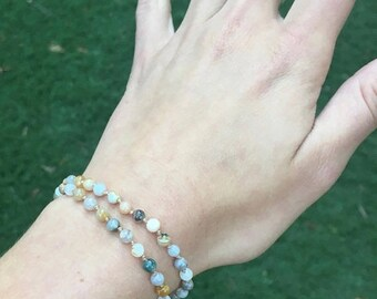 SALE Bamboo Agate Bracelet / Healing Crystal Bracelet / Raw Crystal Bracelet / Beaded Bracelet / Chakra Bracelet