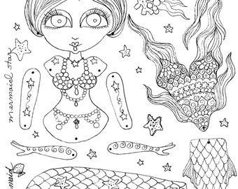 Instant Download Paper Doll  Mermaid