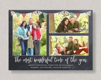 Chalkboard Photo Christmas Card,Rustic Christmas Cards with Photo,Photo Christmas Card,Christmas Card Multiple Photo,Chalkboard Holiday Card