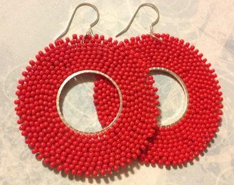 Red Hoop Earrings Seed Bead Hoops Beadwork Jewelry Beaded Earrings
