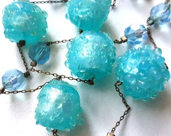 Vintage 20s Art Deco Venetian Blue Foil Glass Bead Necklace