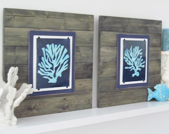 Coral Wall Art Plank Frames with a Driftwood Color Finish with Navy Blue and Sea Foam Coastal Prints