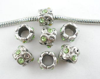 5Pcs Antique Silver Rhinestone Charms Beads Fit European Bracelet 8x9mm  (B460d)