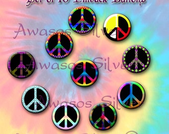 Peace sign pin back buttons or magnets. 1 inch buttons or magnets. Peace sign buttons or magnet set of 10