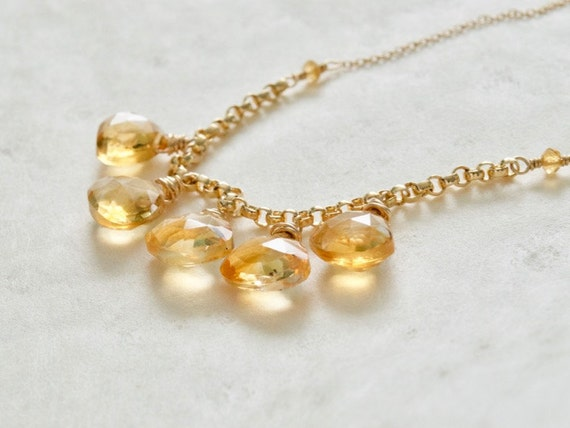 Citrine Necklace, November Birthstone, Citrine Gemstone, Gold Fill, Yellow Stone Necklace