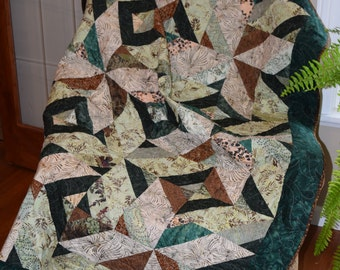 SALE Batik Lap quilt, Throw Quilt, Green & Brown Quilt, Geometrical