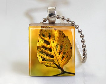 Golden Honey Leaf Autumn Fall Foilage - Scrabble Tile Pendant - Free Ball Chain Necklace or Key Ring