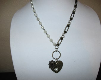 Heart with Pearls Necklace