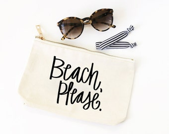 Beach Please Pool Bag Canvas Beach Bag Cute Cosmetic Bag Make Up Pouch Bachelorette Party Favors Travel Zipper Pouch Funny Bridesmaid Gifts