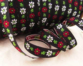 Vintage Floral Woven Jacquard Black Ribbon with Red & White Flowers– 1 Yards