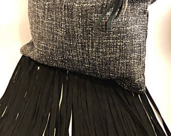 Speckled black and white tweed textured clutch with nubuck suede fringe