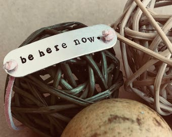 Be Here Now Stamped Wrap Bracelet