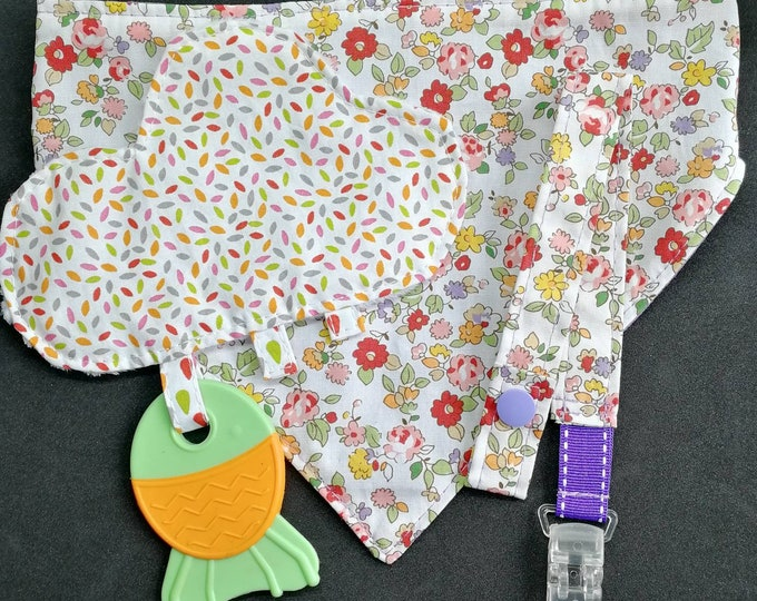 Newborn bib pouch attached pacifier and teether for baby blanket