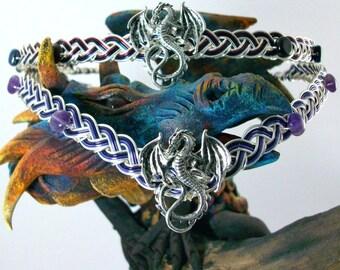 Dragonrider of Pern Dragon Circlet Celtic Weave Crown In Amethyst, Lapis Lazuli or Garnet