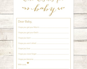 wishes for baby shower printable DIY white and gold glitter baby gender neutral well wishes for baby shower games - INSTANT DOWNLOAD