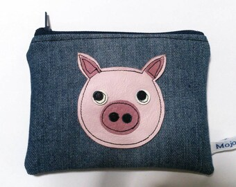 recycled blue denim leather pig applique coin zipper change purse gadget pouch FREE SHIPPING
