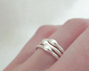 Sterling Silver Stacking Ring Set, Rain, 1.6 mm, Set of Three