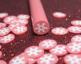 Winter polymer clay cane snowflake white on red 1pcs for miniature foods decoden and nail art supplies
