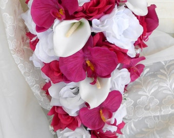 Fuschia pink orchids and white and pink roses with calla lilies cascade bride bouquet 2 pc free toss Can be made in oher colors