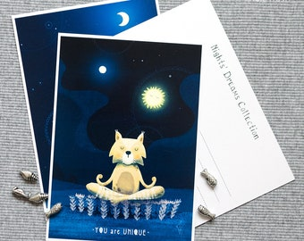 Yoga cat Postcard (Nights' Dreams Collection).