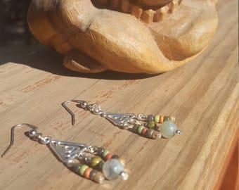 Triangle Spiral Beaded Earrings