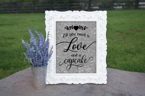 Cupcake Sign   PRINTED Wedding Cupcake Bar sign, Galvanized Wedding Signage, Cupcake Table Decor, Country Wedding Cupcakes, Cupcake Bar sign