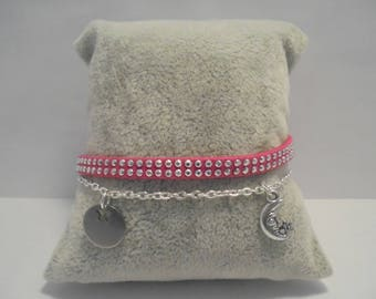 Woman 2 in 1 suede bracelet, rhinestone and silver