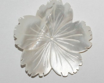 Carved MOP Flower Pendant 35-40mm Mother Of Pearl