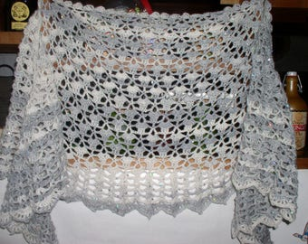 shawl neck crocheted glitter yarn