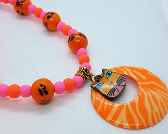 Tiger Cat Necklace with  Pink and Orange Beads, handmade bead jewelry teen gift unique kawaii pink necklace kitten cat cartoon