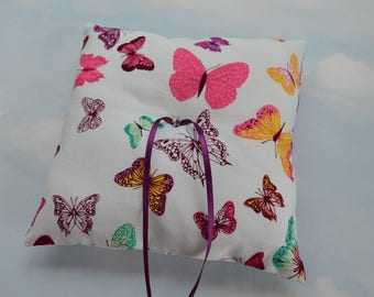 Butterfly wedding ring pillow. Wedding ring cushion.