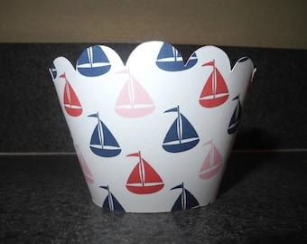 Sailboat Cupcake Wrappers   Set of 12  Nautical Beach Ocean