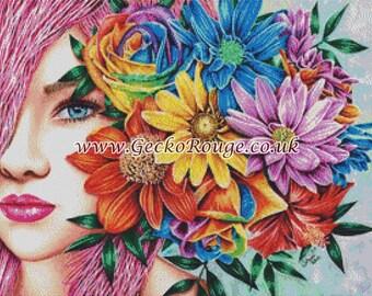 Modern Cross Stitch,  Carissa Rose Art, 'Flora, Flower Head Piece, Floral cross stitch, Cross Stitch Kit, Counted X Stitch Pattern, Flowers