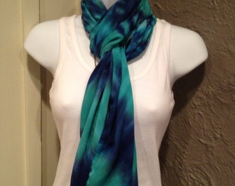 Tye dye scarf, hand dyed infinity scarf, tie dyed rayon scarf, royal and jade hand dyed scarf