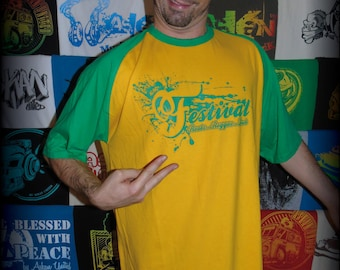"T-shirt ASKAN UNITED ""Festival"" - Tee shirt Green & yellow - green ink"