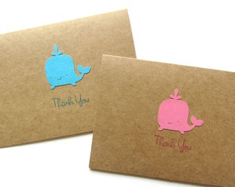 Whale Thank You Cards - Baby Shower - Baby Girl - Baby Boy - Nautical Thank You - Birthday Thank You Notes - Thank You Cards - Note Card Set