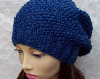 KNITTING PATTERN/ROXANNE Womans Slouchy Hat in Textured Seed Stitch Knit in the Round Womans Slouchy Beanie/Knit Toque Girls Beanie
