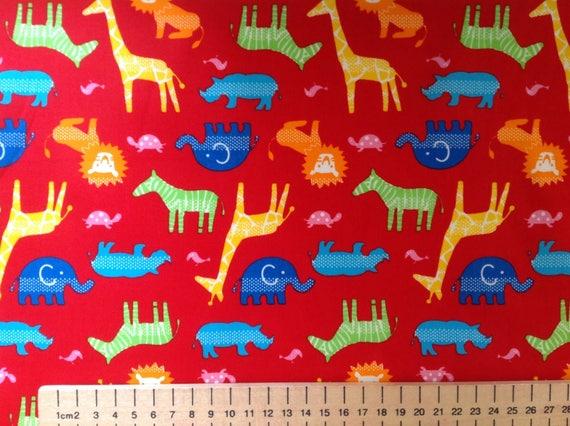High quality cotton poplin, animals on red