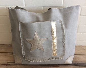 Washed cotton canvas grey/taupe leather handle tote bag