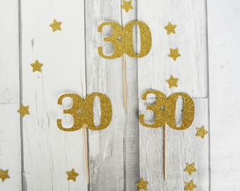 30th Birthday, Cupcake Toppers, 30th, Party Decor, 30th Anniversary, 30 Years, 30th Wedding, Pack of 12, 1 -2 Business Days
