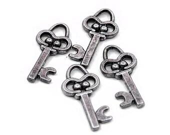 8 Silver Key Charms   Key Pendant, Silver Key Pendant, Key Jewelry, Small Key Charm, Skeleton Key