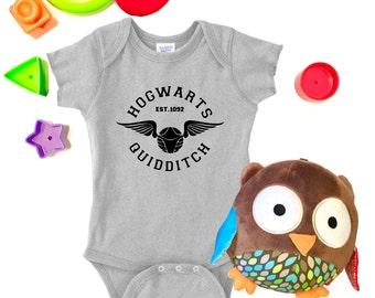 Harry Potter Baby Onesie, Hogwarts Quidditch, Slytherin, Gryffindor, Hufflepuff, Ravenclaw, Harry Potter Gift, Custom Baby Onesie