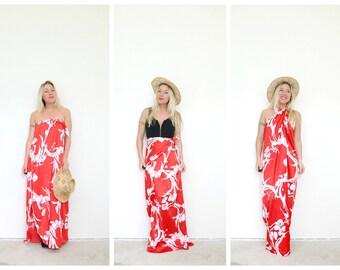 1980s Hawaiian Convertible Dress /// Size Extra Small to Medium