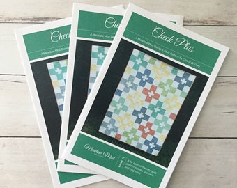 Check Plus - printed quilt pattern - a fat quarter, beginner friendly pattern - baby, lap, twin, and king sizes