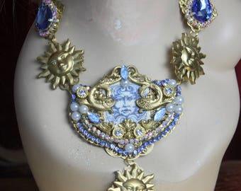 Baroque Medieval Medusa SunBlue Crystal  Huge Necklace Set