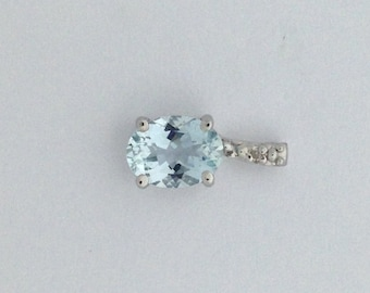 Natural Aquamarine with Natural Diamond Pendant 925 Sterling Silver. March Birthstone