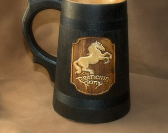 The Prancing Pony wooden Beer Mug  0.6L (20,3 us fl oz)  Lord of the Rings mug Prancing Pony Pub Inspired Stein Beer tankard Groomsmen Gift