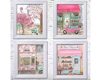 Paris Bedroom Decor, Set Of 4 Personalized Travel Theme Nursery Prints, Paris Theme Party, Paris Decor, Laduree, 6 Sizes 5x7 To 24x36 Poster